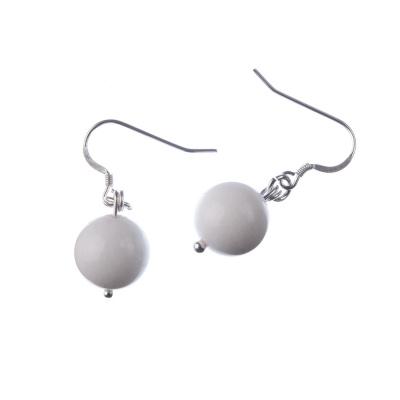 Orecchini a sfere di Giada Bianca 12mm e Argento 925