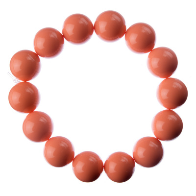 Bracciale Corallo Bambù Rosa, elastico, sfere 14mm