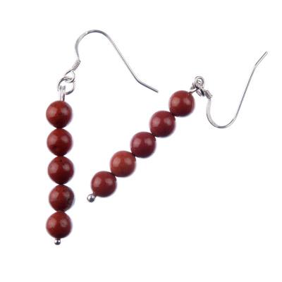 Orecchini a sfere di Diaspro Rosso 6mm e Argento 925