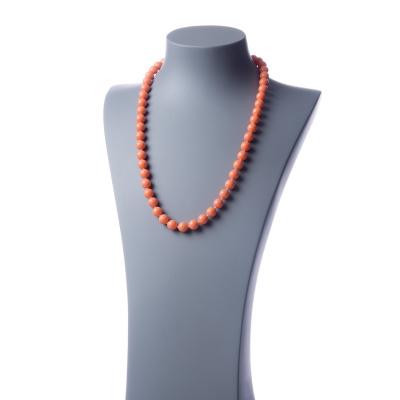 Collana lunga Corallo Bambù Rosa e Ag 925, sfere 10mm