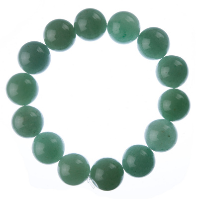 Bracciale Avventurina Verde, elastico, sfere 14mm