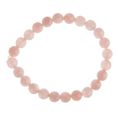 Bracciale Quarzo Rosa, elastico, sfaccettato, sfere 8mm