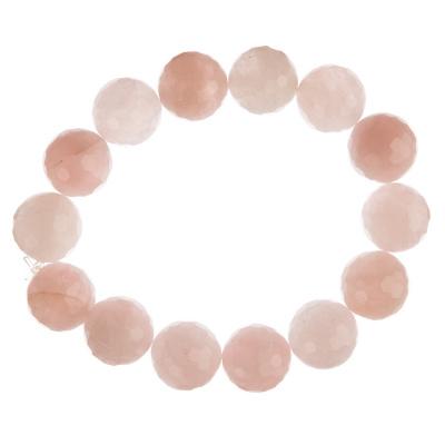 Bracciale Quarzo Rosa, elastico, sfaccettato, sfere 14mm