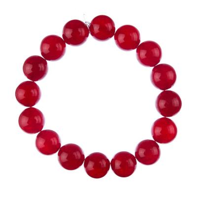 Bracciale Giada Rossa, elastico, sfere 12mm