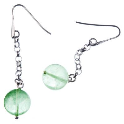 Orecchini pendenti a sfere di Fluorite Verde 14mm e Argento 925 Rodiato