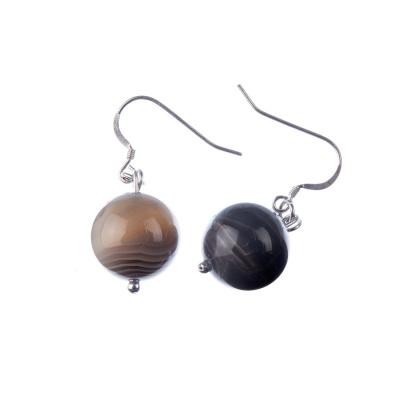 Orecchini a sfere di Agata Botswana 14mm e Argento 925