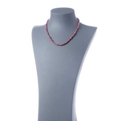 Collana corta Rodonite e Ag 925, sfere 4mm