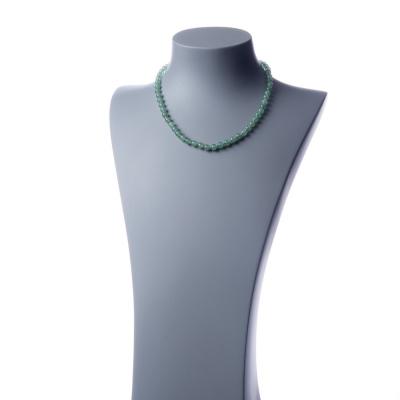 Collana corta Avventurina Verde e Ag 925, sfere 6mm