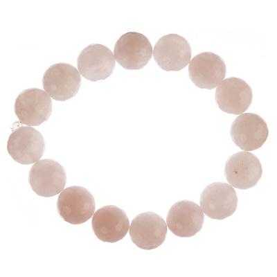 Bracciale Quarzo Rosa, elastico, sfaccettato, sfere 12mm