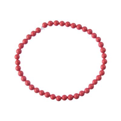 Bracciale Corallo Bambù Rosa, elastico, sfere 4mm