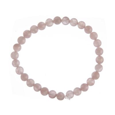 Bracciale Quarzo Rosa, elastico, sfere 6mm