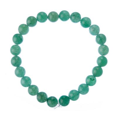Bracciale Avventurina Verde, elastico, sfere 8mm
