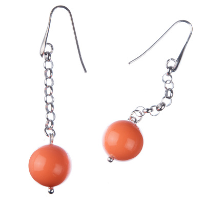 Orecchini pendenti a sfere di Corallo Bambù Rosa 14mm e Argento 925 Rodiato