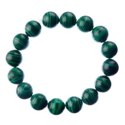Bracciale Malachite, elastico, sfere 12mm