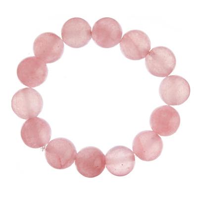 Bracciale Quarzo Rosa, elastico, sfere 14mm