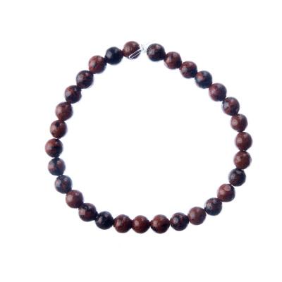 Bracciale Ossidiana Marrone, elastico, sfere 6mm