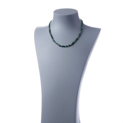 Collana corta Agata Muschiata e Ag 925, sfere 4mm