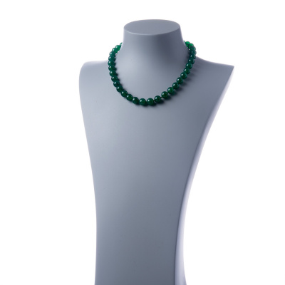 Collana corta Agata Verde e Ag 925, sfere 10mm
