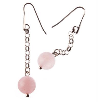 Orecchini pendenti a sfere di Quarzo Rosa 12mm e Argento 925 Rodiato