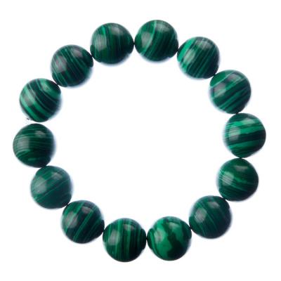 Bracciale Malachite, elastico, sfere 14mm