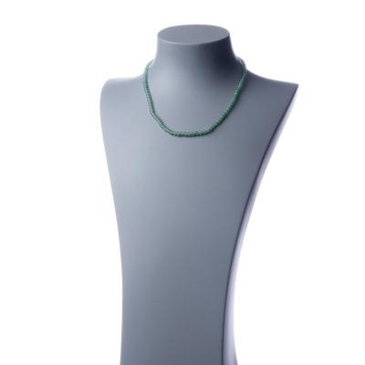 Collana corta Avventurina Verde e Ag 925, sfere 4mm