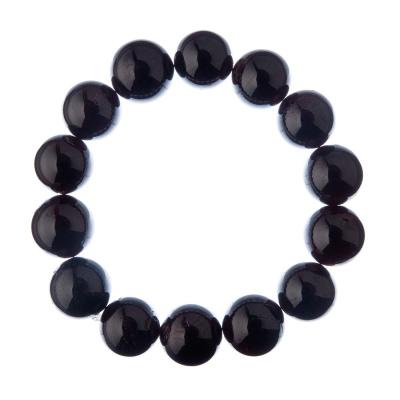 Bracciale Granato, elastico, sfere 14mm