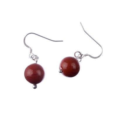 Orecchini a sfere di Diaspro Rosso 12mm e Argento 925