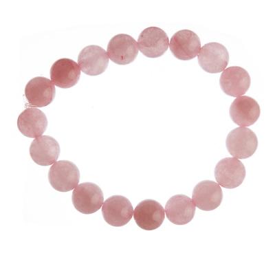 Bracciale Quarzo Rosa, elastico, sfere 10mm