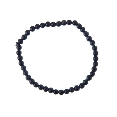 Bracciale Agata Nera Grado A, elastico, sfere 4mm