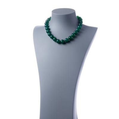 Collana corta Agata Verde e Ag 925, sfere 14mm
