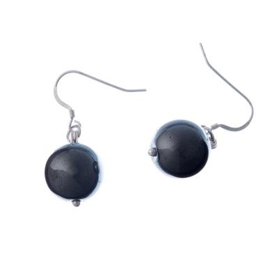 Orecchini a sfere di Ematite 14mm e Argento 925
