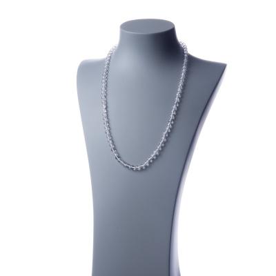 Collana lunga Cristallo di Rocca e Ag 925, sfere 6mm