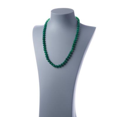 Collana lunga Agata Verde e Ag 925, sfere 6mm
