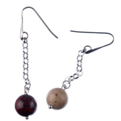 Orecchini pendenti a sfere di Mokaite 12mm e Argento 925 Rodiato