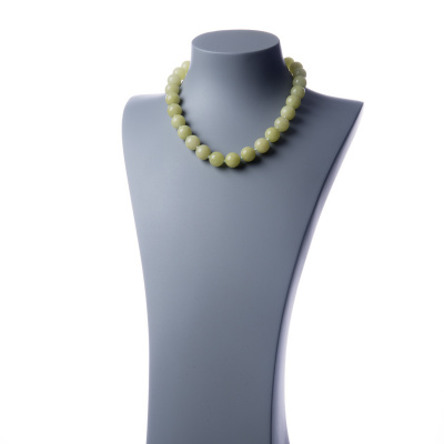 Collana corta New Jade e Ag 925, sfere 14mm