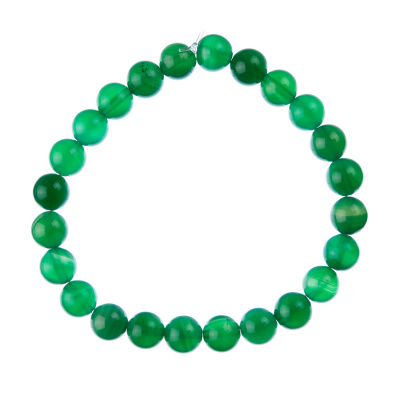 Bracciale Agata Verde, elastico, sfere 8mm