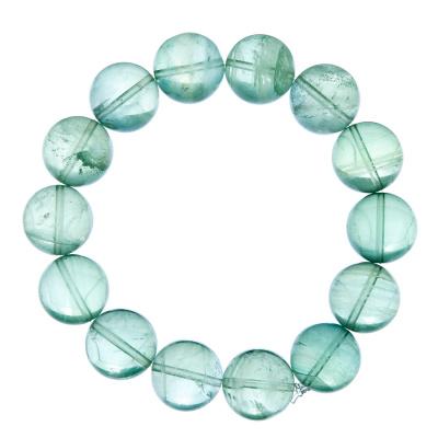 Bracciale Fluorite Verde, elastico, sfere 14mm