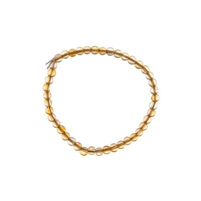 Bracciale Quarzo Citrino, elastico, sfere 4mm
