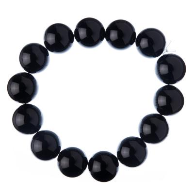 Bracciale Onice nera Grado A, elastico, sfere 14mm