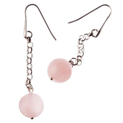 Orecchini pendenti a sfere di Quarzo Rosa 14mm e Argento 925 Rodiato