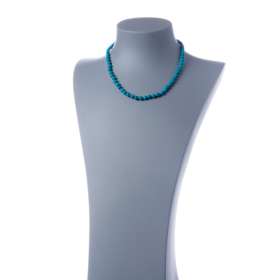 Collana corta Turchese e Ag 925, sfere 6mm