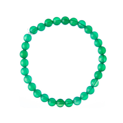 Bracciale Agata Verde, elastico, sfere 6mm