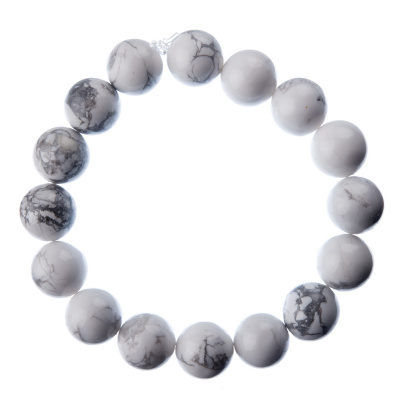 Bracciale Howlite, elastico, sfere 12mm
