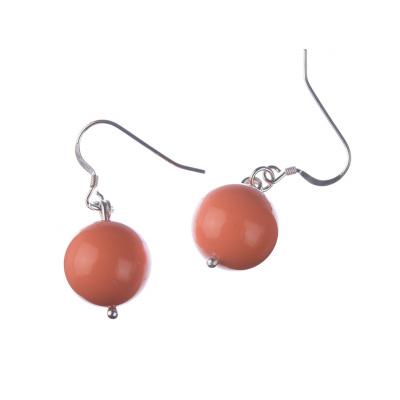 Orecchini a sfere di Corallo Rosa 14mm e Argento 925