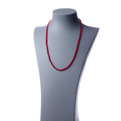 Collana lunga Giada Rossa e Ag 925, sfere 4mm