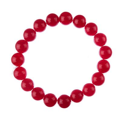 Bracciale Giada Rossa, elastico, sfere 10mm