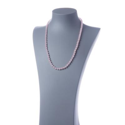 Collana lunga Quarzo Rosa e Ag 925, sfere 6mm