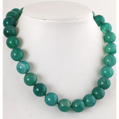 Collana Corta a Sfere di Agata Verde
