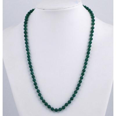 Collana lunga sfere in Agata Verde e Argento Dorato
