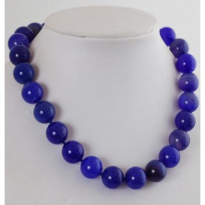 Collana Corta a Sfere di Agata Blu